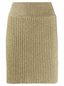 Alberta Ferretti ribbed lurex mini skirt - Gold