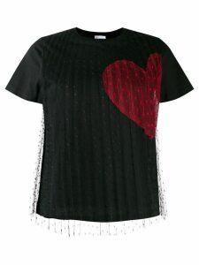 RedValentino heart print T-shirt - Black