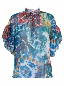 Alice+Olivia Julius tie dye print blouse - Blue