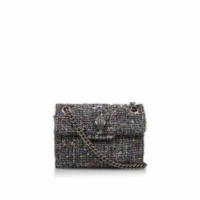 Kurt Geiger London Mini Tweed Kensington - Black Tweed Mini Shoulder Bag