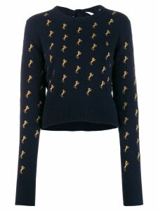 Chloé horse embroidered jumper - Blue