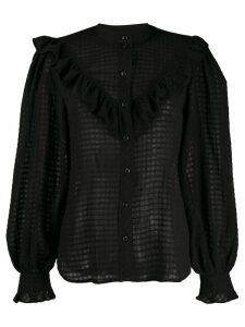 GANNI ruffled shirt - Black