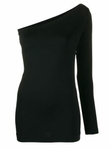 Helmut Lang one-shoulder knitted top - Black