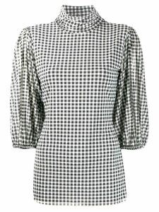 GANNI gingham check blouse - Black