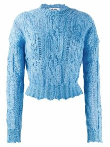 Acne Studios frayed cable knit jumper - Blue