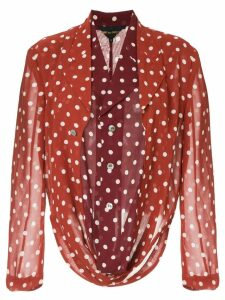 Comme Des Garçons Pre-Owned double layer polka dot top - Brown