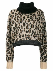 Sacai leopard roll neck sweater - Brown