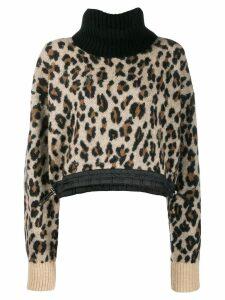 Sacai leopard roll neck sweater - Brown
