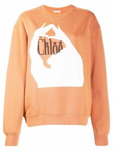 Chloé logo print sweatshirt - Brown