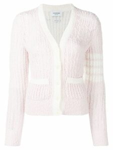 Thom Browne striped sleeve bouclé knit cardigan - Pink