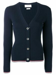Thom Browne Merino Wool Navy Cardigan - Blue