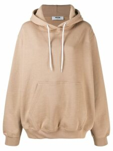 MSGM printed logo hooded sweater - Neutrals