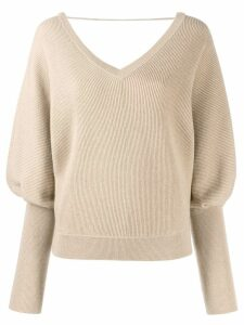 Brunello Cucinelli ribbed batwing sleeve jumper - Neutrals