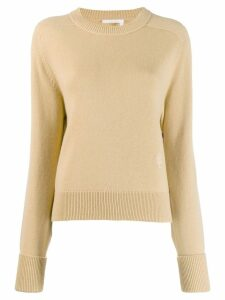 Chloé cashmere embroidered logo knitted sweater - Neutrals