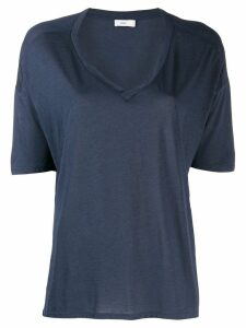 Closed short-sleeve flared T-Shirt - Blue