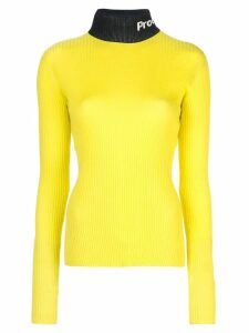 Proenza Schouler PSWL Logo Knit Long SleeveTurtleneck Top - Yellow