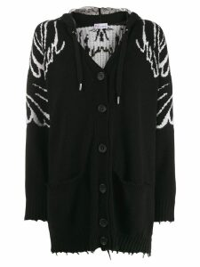 Red Valentino hooded wings knit cardigan - Black