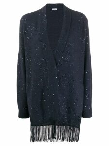 Brunello Cucinelli fringed cardigan - Blue
