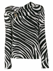 Versace zebra print asymmetric blouse - Black