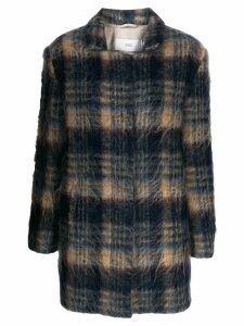 Closed plaid single-breasted coat - Blue