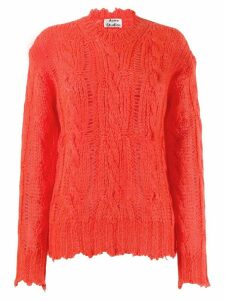 Acne Studios frayed cable knit jumper - Red