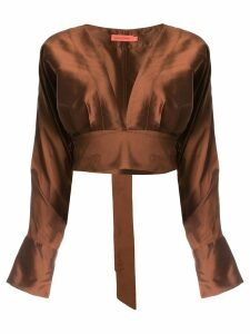 Manning Cartell plunge neck cropped blouse - Brown