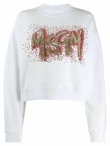 MSGM sequin-embellished logo sweatshirt - White