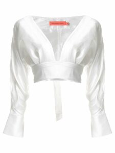 Manning Cartell plunge neck cropped blouse - White