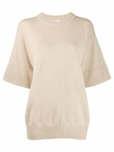 See By Chloé cropped sleeve knitted top - Neutrals
