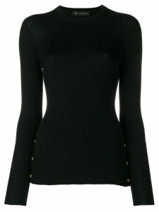 Versace medallion-embellished ribbed sweater - Black