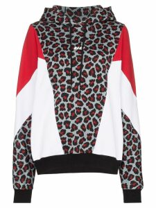 MSGM leopard-print panelled hoodie - 96 Multicoloured