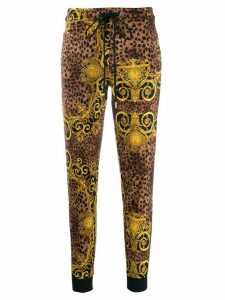 Versace Jeans Couture leopard-print sweatpants - Black