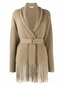 Brunello Cucinelli belted fringed cardigan - NEUTRALS