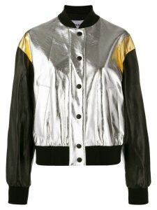 MSGM cropped metallic finish bomber jacket - SILVER