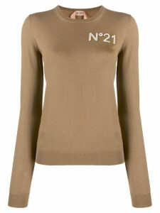 Nº21 textured logo jumper - Brown