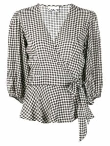 Ganni gingham check wrap blouse - Black