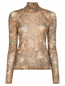 Nanushka Madi snakeskin print top - Brown