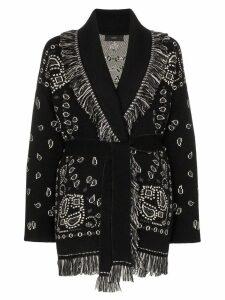 Alanui bandana jacquard cashmere cardigan - Black