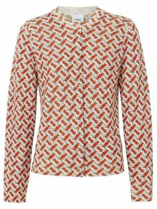 Burberry Monogram Print Merino Wool Cardigan - Red