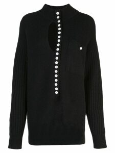 Proenza Schouler PSWL Double Faced Knit Elongated Henley - Black