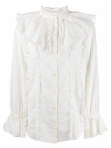See By Chloé frill-trim fitted blouse - NEUTRALS