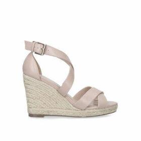 Carvela Wide Fit Smashing - Wide Fit Nude Espadrille Wedge Sandals