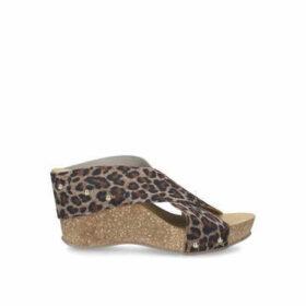 Carvela Comfort Sooty - Leopard Print Mid Heel Wedge Sandals