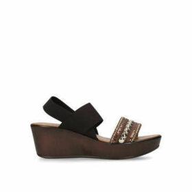 Carvela Comfort Seyla - Brown Embellished Wedge Heel Sandals