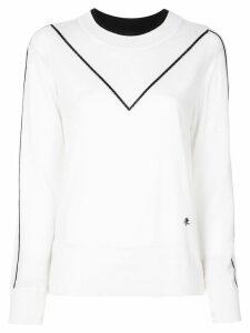 Adam Lippes contrast stripe sweatshirt - White