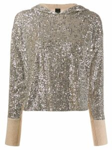 Pinko asymmetric sequined hooded sweater - NEUTRALS