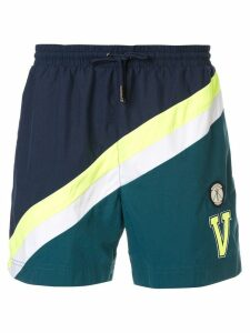 Ports V striped logo swim shorts - Blue
