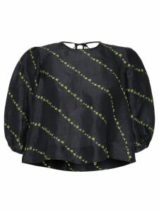 GANNI puff-sleeve floral print top - Black