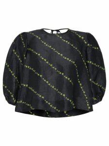 Ganni puff-sleeve floral print top - Black