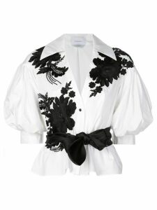 Marchesa floral brocade blouse - White